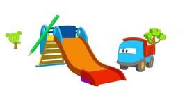 Kids 3D Construction Cartoons 11  Leo Paints  A Slide