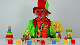 Funny Clown Videos For Kids. Emil The Clown Helps A Baby Lemon Doll Clean Up
