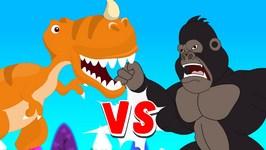 Gorilla Vs Dinosaur Finger Family - Epic Battle Finger Family - Finger Family Nursery Rhymes