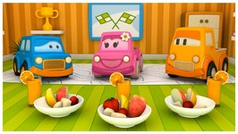The Clever Cars Learn About Fruit  Food Education  With 3d Children's Cartoons