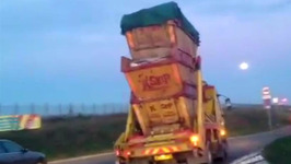 Dangerous Driving  Triple-Stacked Skip Lorry
