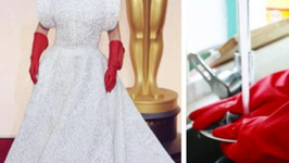 Lady Gaga's Red Gloves Become Instant Oscars Meme