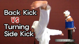 Taekwondo Back Kick VS Turning Side Kick Tutorial