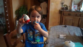 3 Year Old And His Kinder Surprise - Merry Christmas