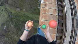 Juggling on giant viaduct in Anina