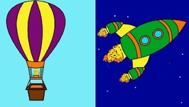 Rainbow Colors Book  Kids Learn Colours  Space Rocket And Balloon