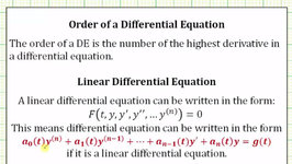 Differential Equaitons - Find the Order and Classify as Linear or Nonlinear