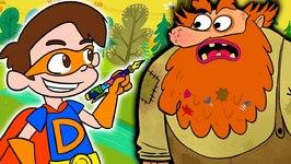 Super Drew Battles a Troll and Evil Bunnies - A Stupendous Drew Pendous Superhero Story