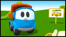 Toy Trucks - Leo Junior Builds A Bus  Kid's 3D Educational Construction Cartoons For Children