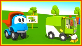 Toy Truck Cartoons  Leo Junior's 3D Street Sweeper Construction Cartoons