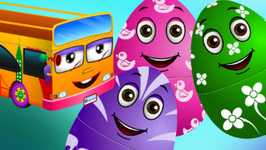 Surprise Eggs Nursery Rhymes - Wheels On The Bus - Learn Colours And Parts Of The Bus - Chuchu TV