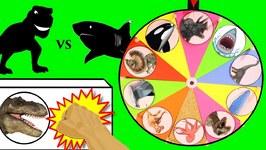 DINOSAURS Vs SHARKS GAME  Surprise Dinosaur Plus Shark Toys  Slime Wheel Games For Kids Video