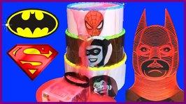 Batman Vs Superman Vs Spiderman SLIME CAKE GAME With Surprise Toys, Slime Superheroes Games