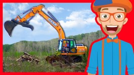 Construction Trucks for Children with Blippi - Excavators for Kids