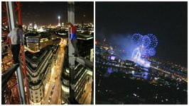 Watching the New Year from a Crane in London