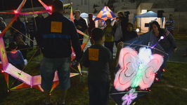 Flying lights brighten the sky at Night Kite Festival