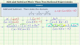Add And Subtract Rational Expressions With UnLike Denominators - 3 Expressions
