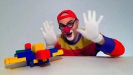 Kid's Car Clown - Lego Airplane Backwards Construction  Children's Toy Video Demos