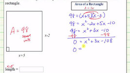 Ex 1: Quadratic Equation App - Find the Dimensions of a Rectangle Given Area (Factoring)