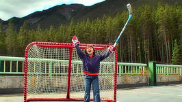 This is Emily Yeung Playing Road Hockey