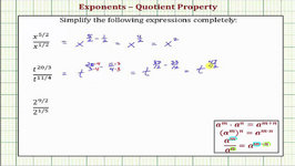 Ex: Simplify Exponential Expressions With Fraction Exponents (Quotient Property Of Exponents)