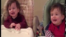 Adorable Twins Giggle At Mom's Fake Sneeze