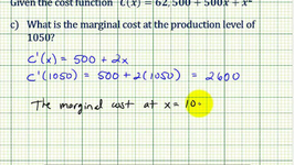 Example 1: Cost Function Applications - Marginal Cost, Average Cost, Minimum Average Cost
