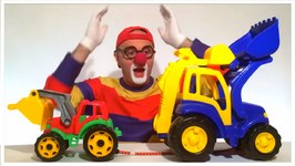 Monster Lego Toy Truck, Excavator And Bulldozer Tug Of War  Toy Car Clown - Children's Toy Video Demos
