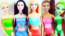 DIY- 5 Doll Swimsuits, No Glue, No Sew With 1 Material