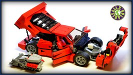 Lego Ferrari F40 with V8 engine stop motion review  ALEXSPLANET