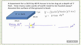 Determine Volume In Cubic Feet And Cubic Yards (Conversion)