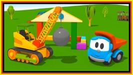 Cartoon Trucks - Leo's House Smash Up - Crane Construction