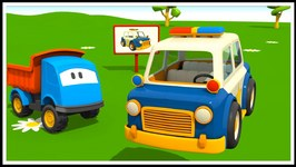 Leo's Police Car - Kid's 3D Educational Construction Cartoons For Children