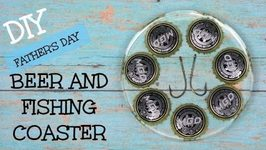 Beer and Fishing Coaster - Father's Day Gift Idea - Another Coaster Friday