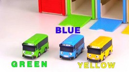 Toy Cars Clown And Tayo Bus Garage - Learn Colors With Toy Buses