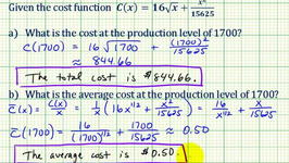 Example 2: Cost Function Applications - Marginal Cost, Average Cost, Minimum Average Cost