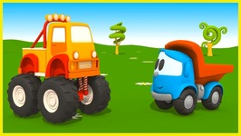 Massive Monster Truck - Leo The Cartoon Truck Construction