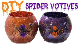 DIY Dollar Store Halloween Glitter Spider Votives Craft Project- Craft Klatch Halloween Series