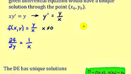Find the Region a First Order Differential Equation Has a Unique Solution at a Point - Part 1