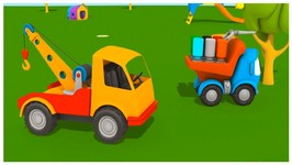 Tow Trucks  Cartoon Trucks  Leo Junior - Painting Games And Construction Puzzles
