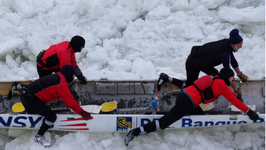 Ice Canoe Race At Quebec City Carnival