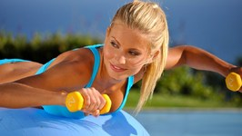 10 min Beginner Stability Ball and Dumbbell Workout