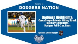 Dodgers Highlights Corey Seager Extends Hitting Streak in Dodgers 9-2 Loss vs. Reds