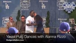 Yasiel Puig Dances with Alanna Rizzo - Dodgers FanFest