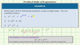 Simplify Expressions Using The Product Rule Of Exponents (Basic)