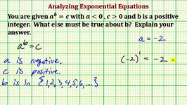 Analyze True Conditions for a Given Exponential Equation (Common Core Math 7/8 Ex 12)
