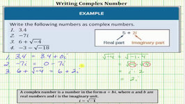 Write Number In The Form Of Complex Numbers