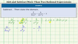 Subtract Rational Expressions With UnLike Denominators - 3 Expressions