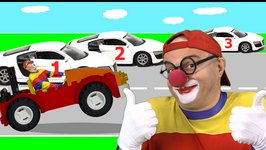 Car Clown - Learning To Count - Cars And Numbers Cartoons For Kids