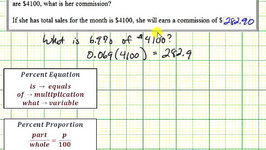 Ex: Percent Application - Commission Amount Given Percent of Sales (Equation and Proportion)